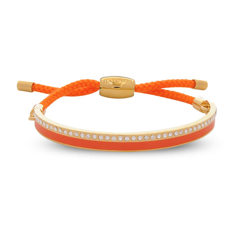 Enamel Bangle | 6mm Skinny Plain Sparkle Friendship Bangle | Orange and Gold | Halcyon Days | Made in England