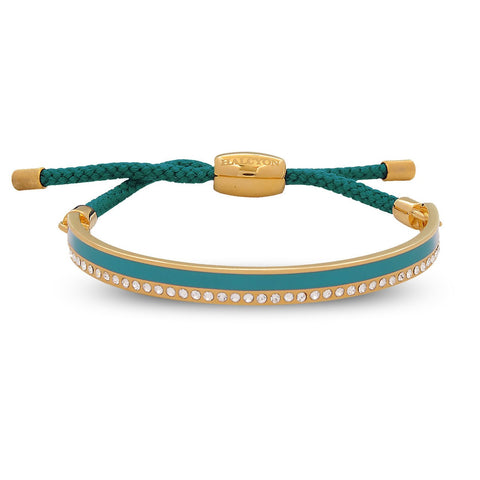 Halcyon Days 6mm Skinny Plain Sparkle Friendship Enamel Bangle in Turquoise and Gold