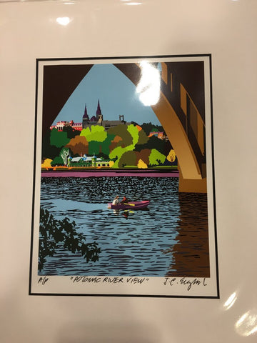 Georgetown Univ | Georgetown University | Georgetown View from the Potomac River | Artist Joseph Craig English | 13 by 16 Inches