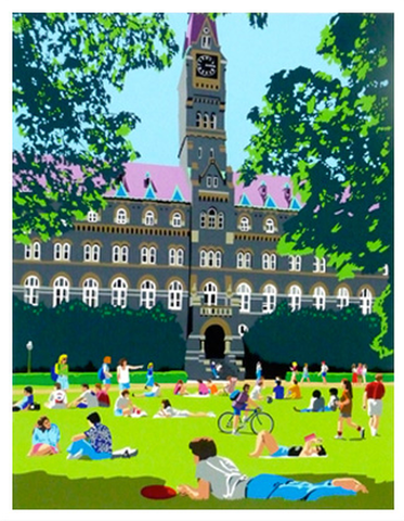 Georgetown Univ Art | Georgetown University | Framed Hoya Beach Club | artist Joseph Craig English | 13 by 16 Inches-Giclee Print-Sterling-and-Burke
