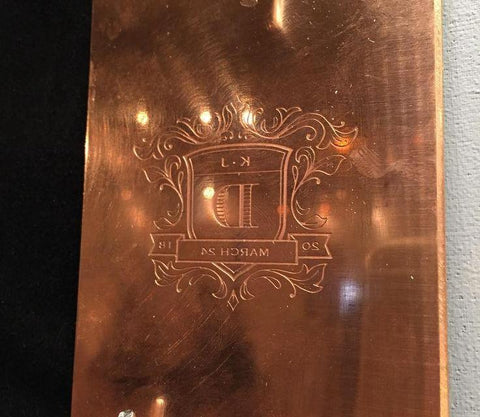 """"" Copper Engraving Plate $120 
