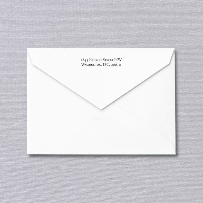 Conchita Sarnoff Bespoke Stationery | Envelope Only with Return Address | No Lining | Hand Engraved | Sterling and Burke Ltd-Custom Stationery-Sterling-and-Burke
