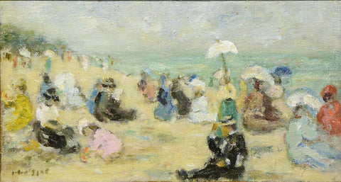 "Antique Oil Painting | Plage en Bretagne (On the Beach, Brittany) by Gabriel Spat | 12 9/16"" x 17 9/16"""