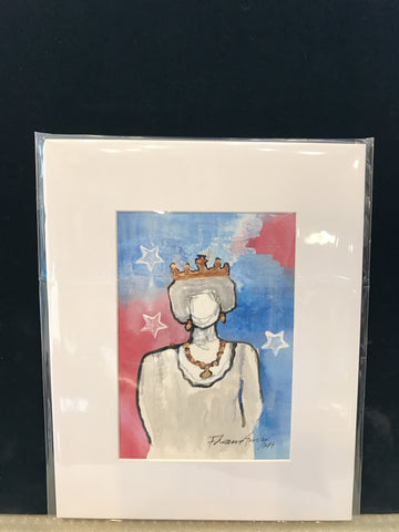 "Art | America Queen | Mixed Media on Paper by Fabiano Amin | 7"" x 5""-Mixed Media-Sterling-and-Burke"