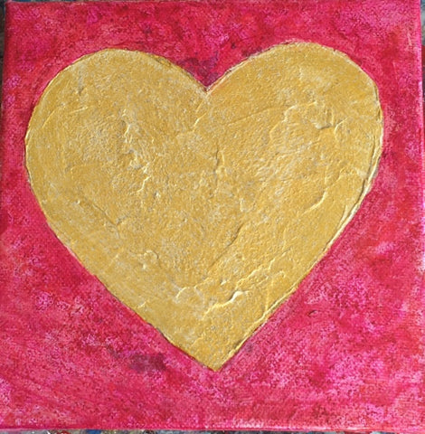 Heart, in Gold and Pink, Small Painting on Canvas-Acrylic Painting-Sterling-and-Burke