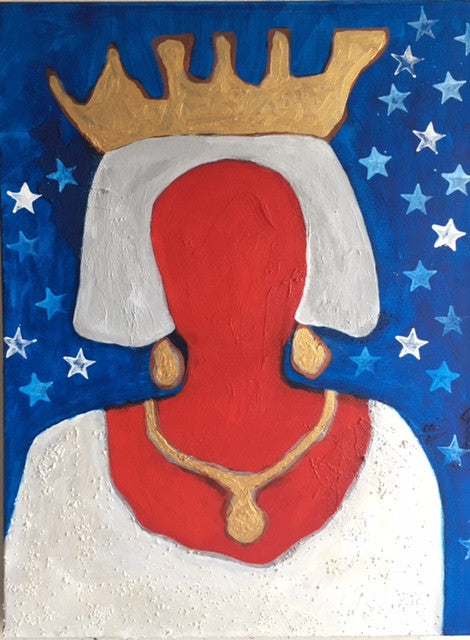 "Art | Silver Queen | Original Acrylic Mixed on Gallery Canvas by Fabiano Amin | 24"" x 18""-Acrylic Painting-Sterling-and-Burke"