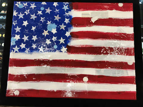 "Art | Stars USA | Original Acrylic and Mixed Media on Canvas by Fabiano Amin | 14"" x 11""-Acrylic Painting-Sterling-and-Burke"
