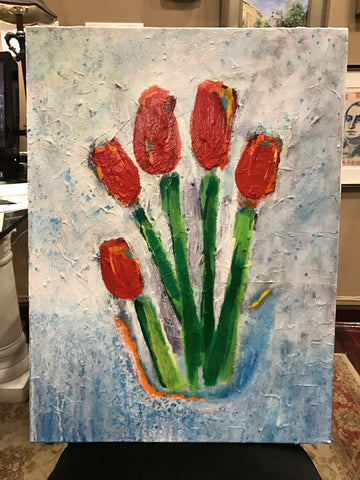 Tulips, Original Acrylic on Canvas, 24 by 18 Inches-Acrylic Painting-Sterling-and-Burke