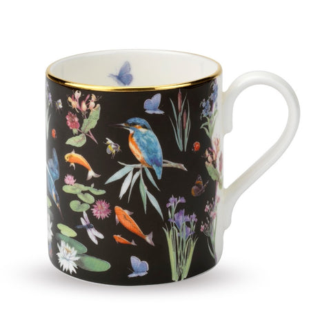 English Fine Bone China | Kingfisher Scatter Mug | Black | Halcyon Days | Made in England