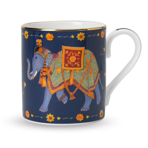 Fine English Bone China | Ceremonial Indian Elephant Mug | Blue | Halcyon Days | Made in England