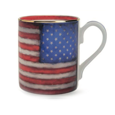Fine Bone English China | USA Flag Mug | Halcyon Days | Made in England