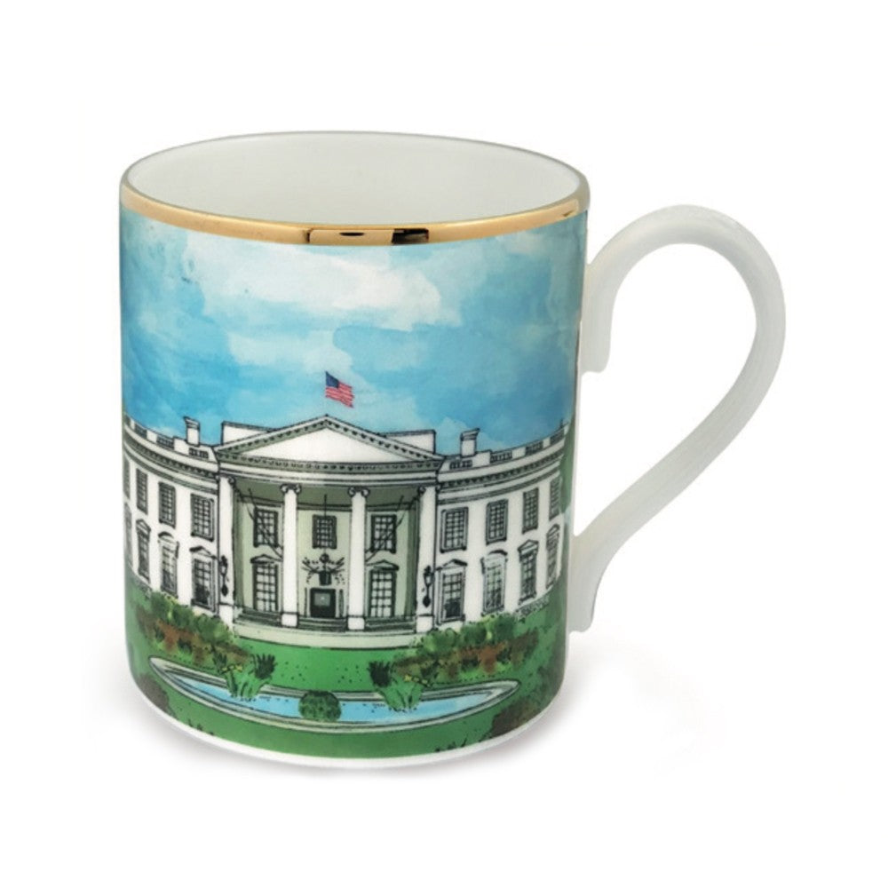 Halcyon Days The White House Mug-Bone China-Sterling-and-Burke
