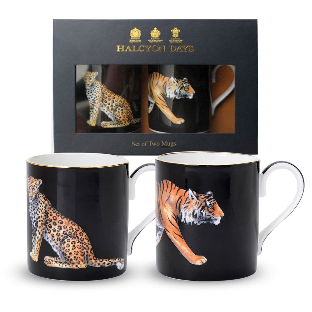 Halcyon Days Leopard and Tiger Mugs in Black, Set of 2-Bone China-Sterling-and-Burke