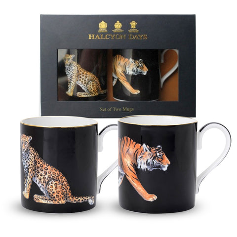 English Fine Bone China | Leopard and Tiger Mug Set | 2 Mugs | Halcyon Days | Made in England