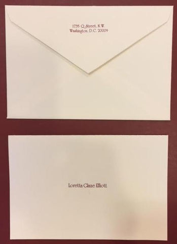 Crane & Co. Stationery | Kent Half Sheet Stationery | Ecru with Burgundy | Engraved-Stationery-Sterling-and-Burke