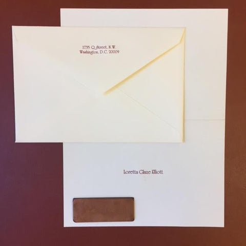 Crane & Co. Stationery | Kent Envelope Stationery | Ecru with Burgundy | Engraved-Stationery-Sterling-and-Burke