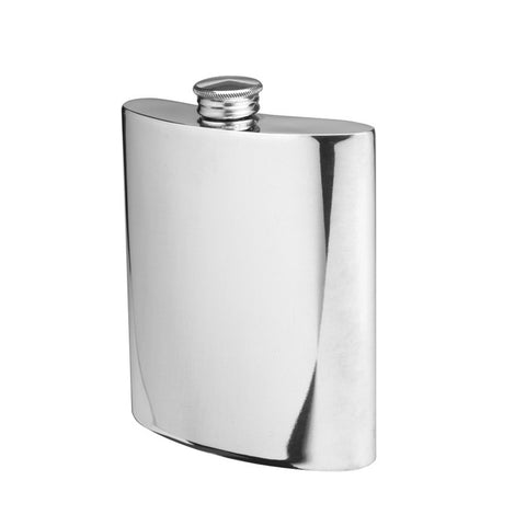 Pewter Flask | 6 Oz | Curved Flask | Hip Flask | Flat Top | Solid Pewter Hip Flask | Engraves Beautifully | Made in England