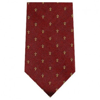 Fleur De Lys Motif | Burgundy / Navy Blue | Silk Tie | Benson and Clegg | London