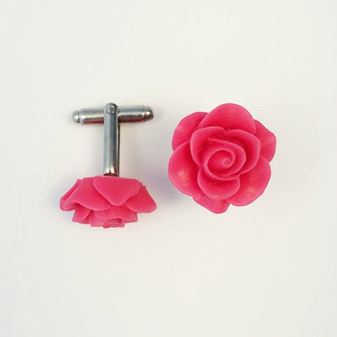 Flower Cufflinks, Fuchsia