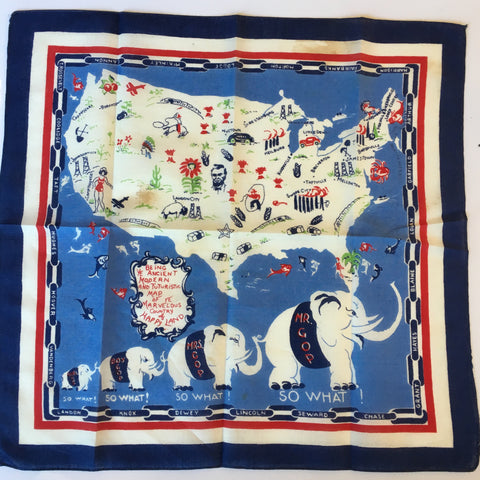 "Mr. GOP, So What | Vintage Handkerchief | 1950's | 14.5"" x 14.5"" Unframed"