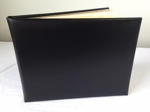 Funeral Guest Book | Black Calf Leather Condolence Book | Funeral Registry | Sympathy Book | Made in England | Charing Cross-Guest Book-Sterling-and-Burke