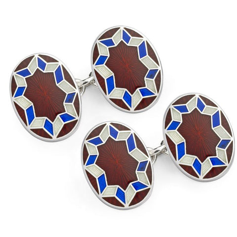 Budd Funky Star Cloisonné Enamel Cufflinks in Red