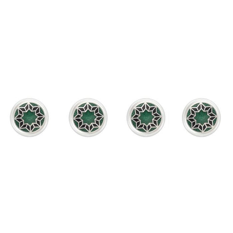 Budd Funky Star Cloisonné Enamel Studs in Green-Cufflinks & Studs-Sterling-and-Burke