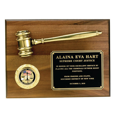 Gavel Award | Walnut Gavel Plaque Award | Wood and Brass Gavel | Custom Engraved Gavel Award | Sterling and Burke-Award-Sterling-and-Burke
