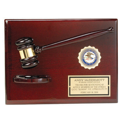 Gavel Award | Luxury Gavel Plaque Award | Polished Wood and Brass Gavel | Custom Engraved Gavel Award | Sterling and Burke-Award-Sterling-and-Burke