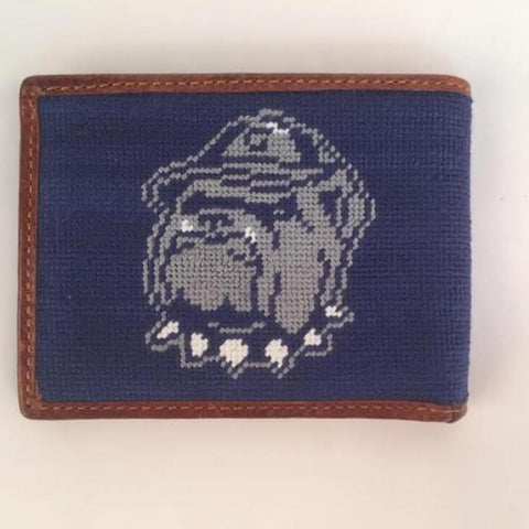 Georgetown University | Hoya | Bull Dog Wallet | Needlepoint Bifold Hip Wallet-Wallet-Sterling-and-Burke