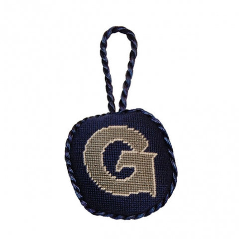 Needlepoint Collection | Georgetown University Needlepoint Ornament | Hoya | Blue and Grey | Smathers and Branson