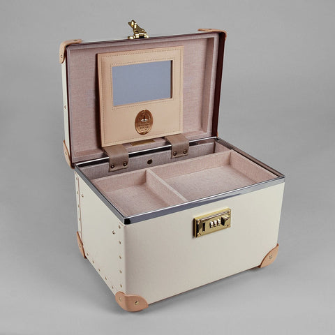 Safari Collection | 13 Inch Vanity Case | Ivory | Brown | Globe-Trotter Luggage-Vanity Case-Sterling-and-Burke