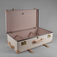 Safari Collection | 33 Inch Suitcase with Wheels | Ivory | Brown | Globe-Trotter Luggage-Wheeled Luggage-Sterling-and-Burke
