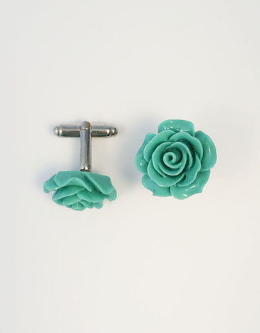 Flower Cufflinks | Green  Floral Cuff Links | Polished Finish Cufflinks | Hand Made in USA