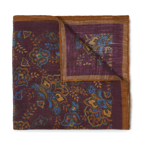 Budd Gypsy Florals Silk Pocket Square in Burgundy & Orange