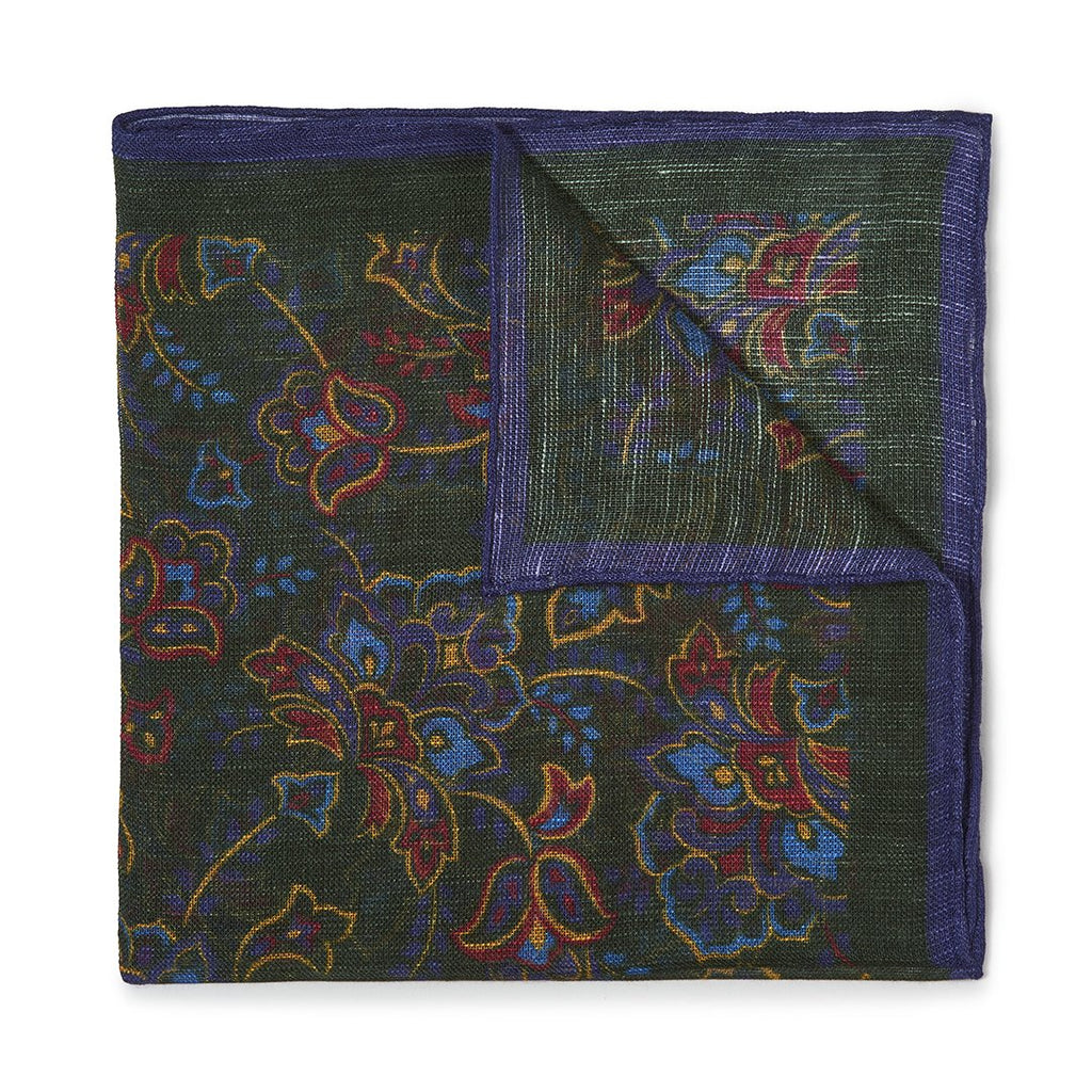 Budd Gypsy Florals Silk Pocket Square in Dark Green & Navy-Pocket Square-Sterling-and-Burke