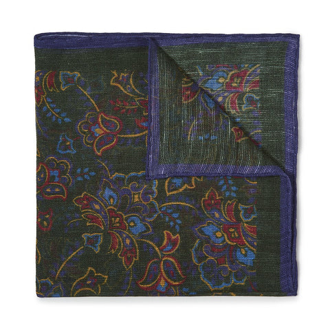 Budd Gypsy Florals Silk Pocket Square in Dark Green & Navy
