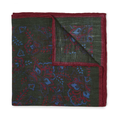 Budd Gypsy Florals Silk Pocket Square in Dark Green & Red-Pocket Square-Sterling-and-Burke