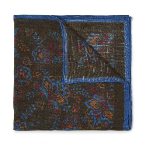 Budd Gypsy Florals Silk Pocket Square in Green & Blue-Pocket Square-Sterling-and-Burke