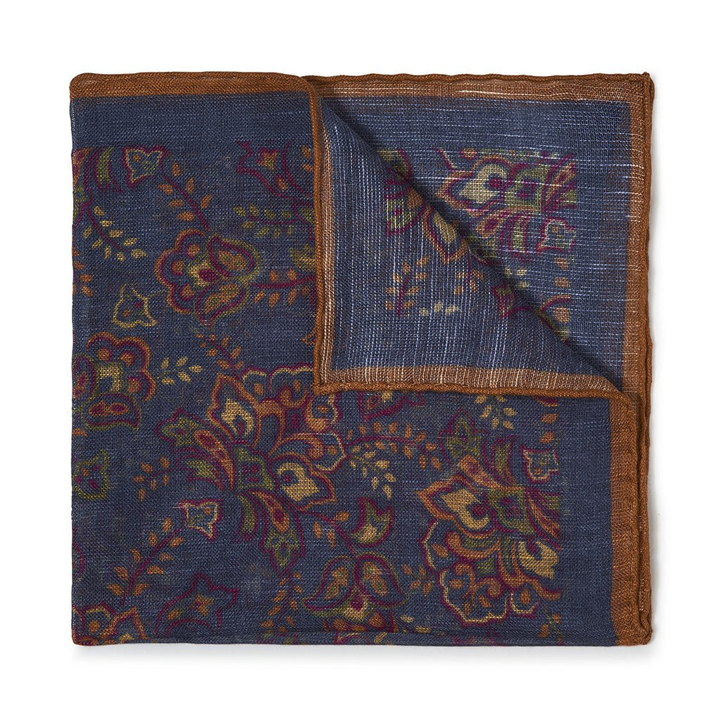 Budd Gypsy Florals Silk Pocket Square in Navy & Brown-Pocket Square-Sterling-and-Burke