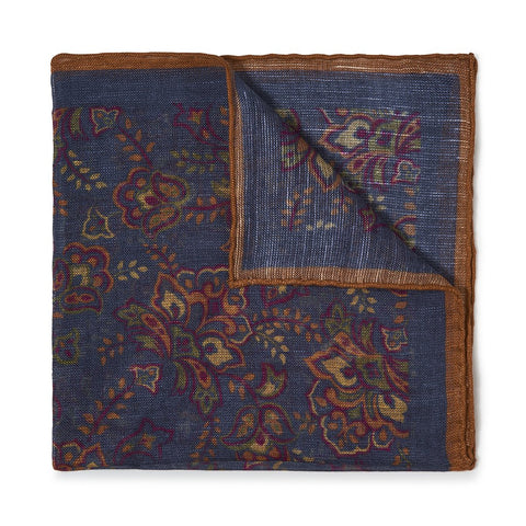 Budd Gypsy Florals Silk Pocket Square in Navy & Brown