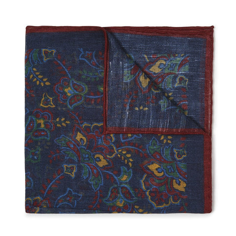 Budd Gypsy Florals Silk Pocket Square in Navy & Burgundy