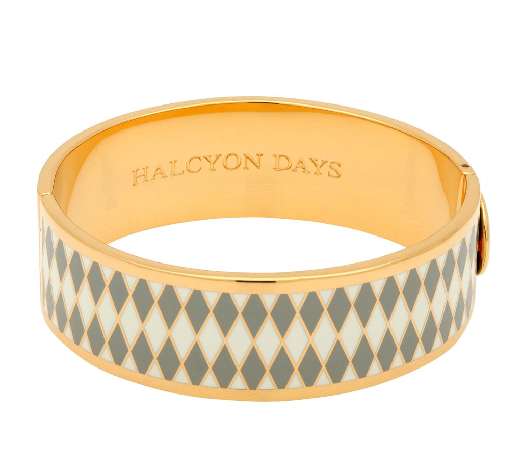 Enamel Bangle | 19mm Parterre Grey, Cream, and Gold Bangle | Halcyon Days | Made in England-Bangle-Sterling-and-Burke