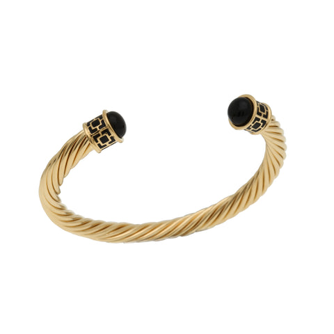 Halcyon Days Maya Open Twist Wire Bracelet in Black and Gold-Jewelry-Sterling-and-Burke
