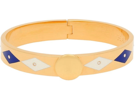 Halcyon Days 1cm Parterre Sparkle Hinged Enamel Bangle in Deep Cobalt, Cream, and Gold-Jewelry-Sterling-and-Burke
