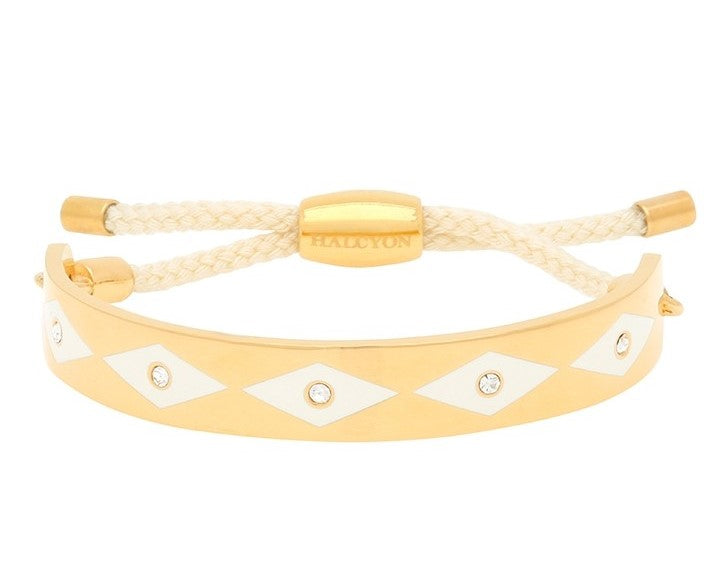 Halcyon Days 1cm Parterre Sparkle Friendship Enamel Bangle in Cream and Gold-Jewelry-Sterling-and-Burke