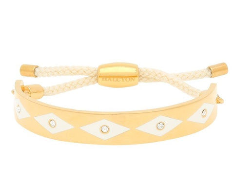 Enamel Bangle | 1cm Parterre Sparkle Friendship Bangle | Cream and Gold | Halcyon Days | Made in England