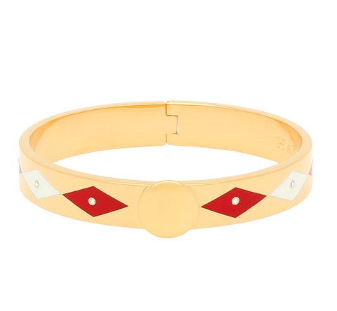 Enamel Bangle | 1cm Parterre Sparkle Hinged Bangle | Red, Cream, and Gold | Halcyon Days | Made in England