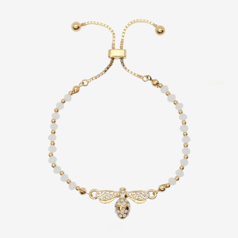 Halcyon Days Bee Sparkle Beaded Friendship Bangle in Cream and Gold
