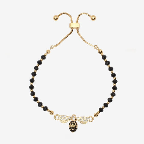 Halcyon Days Bee Sparkle Beaded Friendship Bangle in Black and Gold